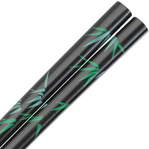 Bamboo Green Leaves Design on Black Japanese Style Chopsticks