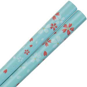 Dogwood Blossoms on Light Blue Japanese Style Chopsticks