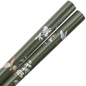 Dragonflies Silver Red on Olive Green Japanese Style Chopsticks