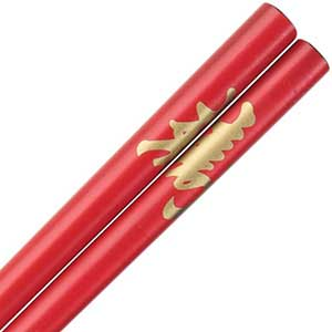 Kotobuki Longevity Kanji on Red Japanese Style Chopsticks