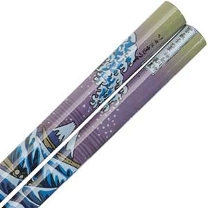 Mount Fuji and Wave Hokusai Design on Black Chopsticks