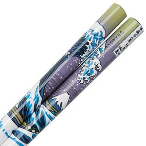 Mount Fuji and Wave Hokusai Design on White Chopsticks